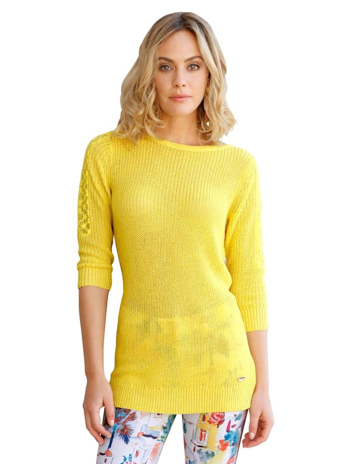 AMY VERMONT Pullover mit transparenter Spitze am Ärmel, Gelb
