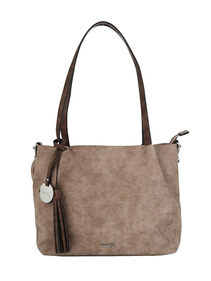 Taschenherz Handbag made from an embossed fabric 2-piece, Taupe