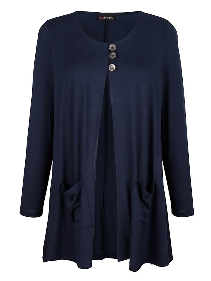 MIAMODA Shirtjacke mit Knöpfen zum schließen, Marineblau