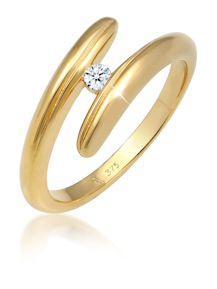 DIAMORE Ring Wickelring Diamant 0.06 Ct. 375 Gelbgold, Weiß