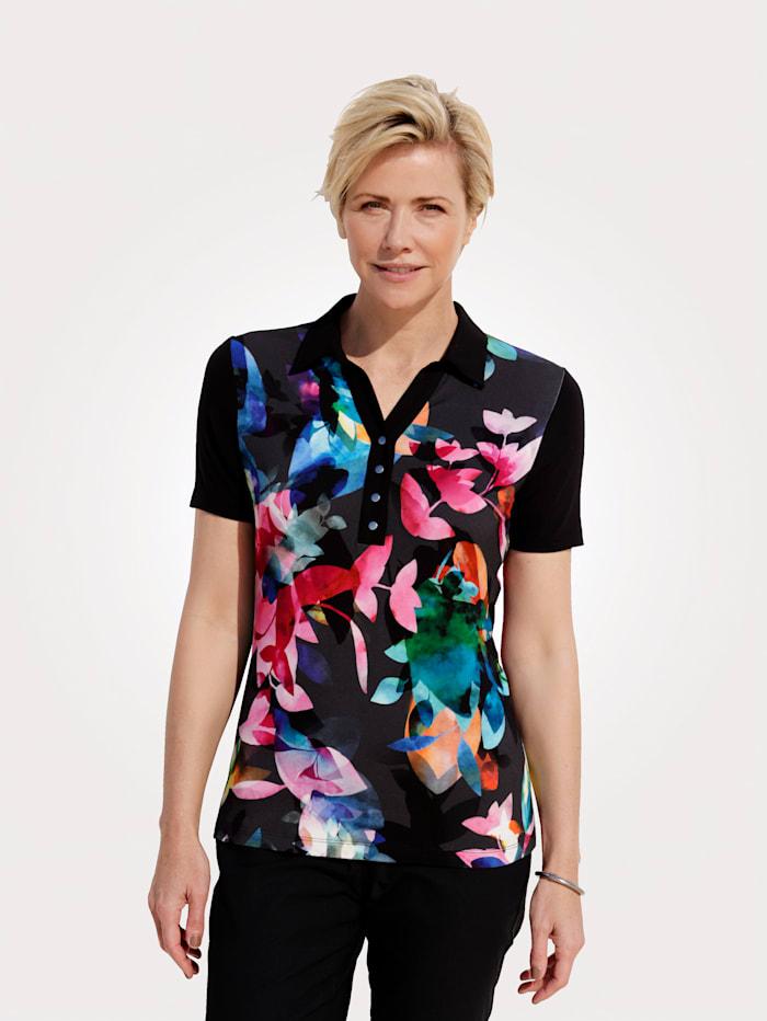 MONA Poloshirt met bloemenprint, Zwart/Berry/Blauw