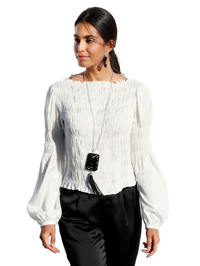 Cream Bluse mit weitem U-Boot Ausschnitt, Off-white