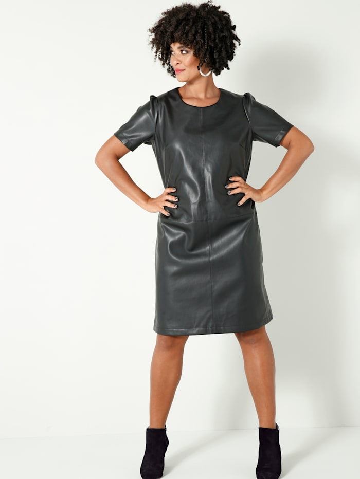 Angel of Style Kleid in Leder-Optik, Schwarz