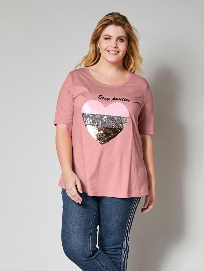Angel of Style Shirt mit Paillettenherz, Rosé