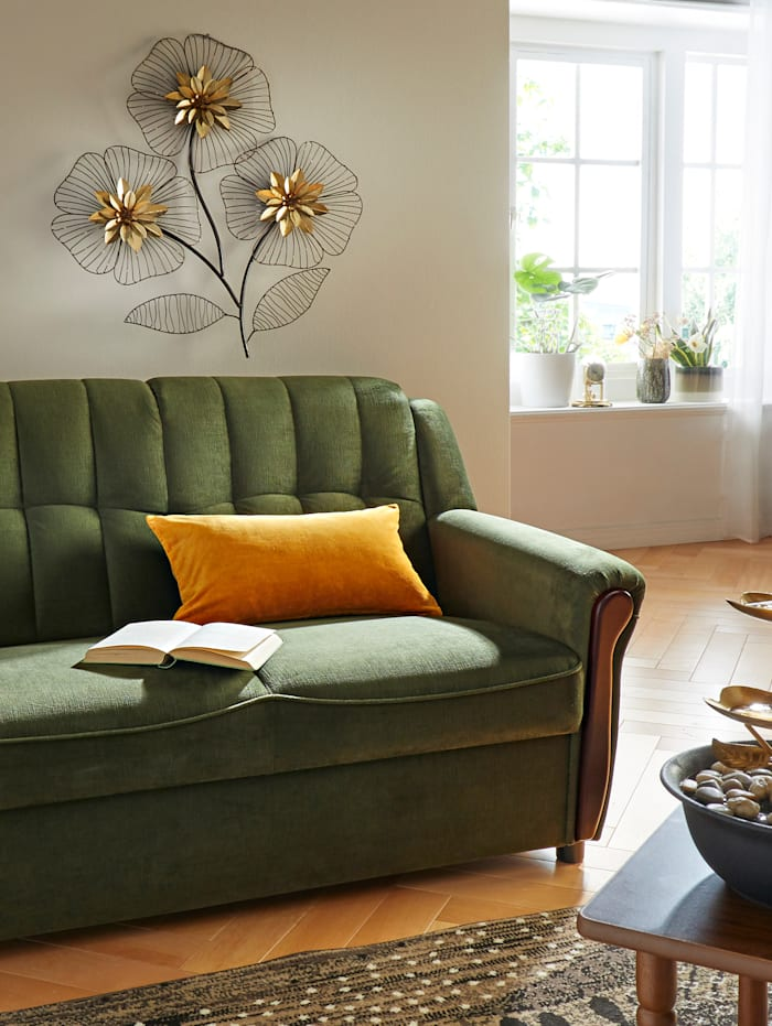 Wanddecoratie Bloemen, Zwart/Goudkleur