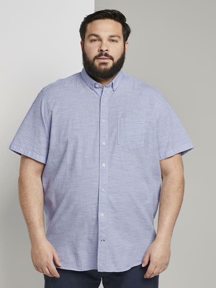 Tom Tailor Men Plus Mehrfarbiges Kurzarmhemd mit Brusttasche, light blue structure by design