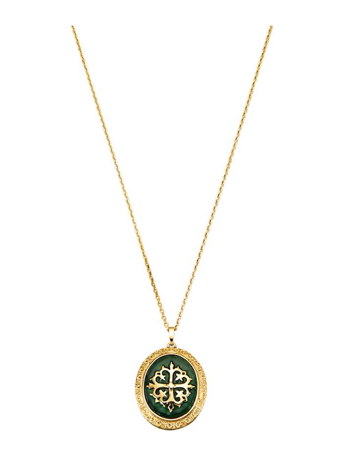 Ursula Christ Pendentif + chaîne en argent 925, doré, Vert