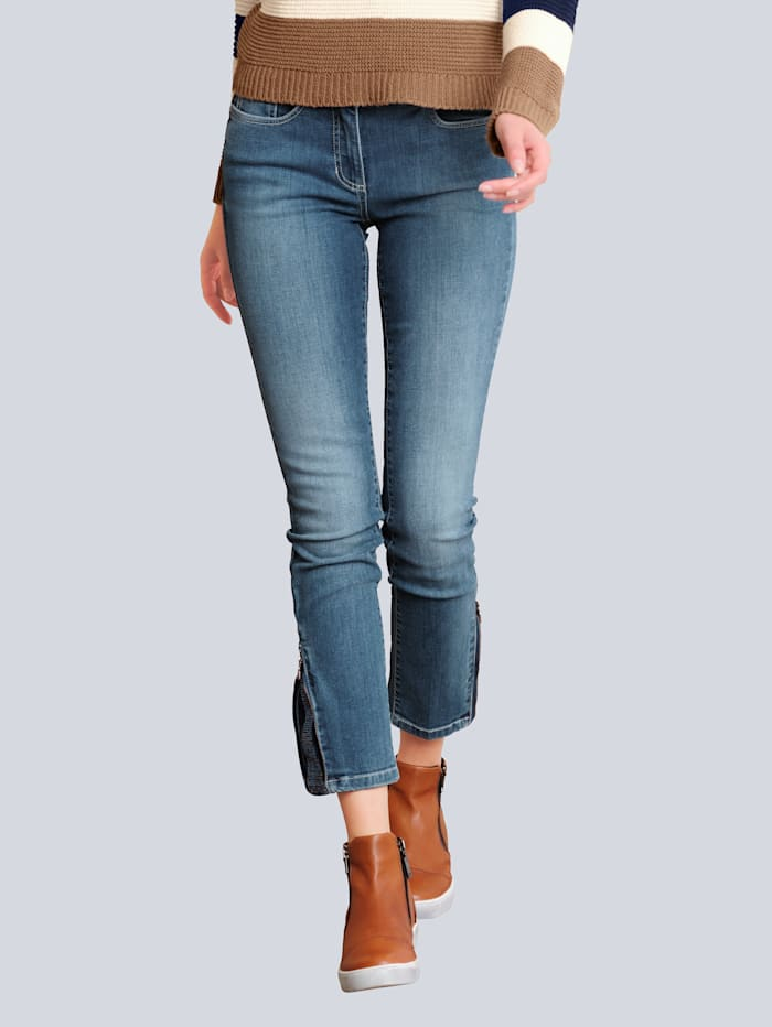 Alba Moda Jeans med strass och dragkejdor nedtill, Blå
