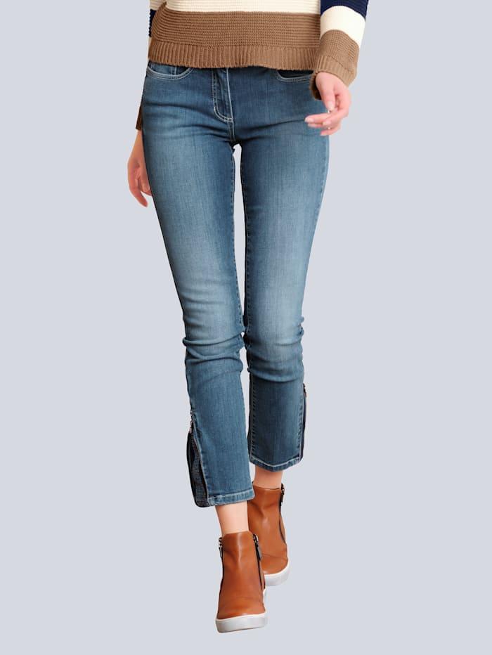 Alba Moda Jeans mit Strass-Steinchenapplikation am Saumabschluss, Blau
