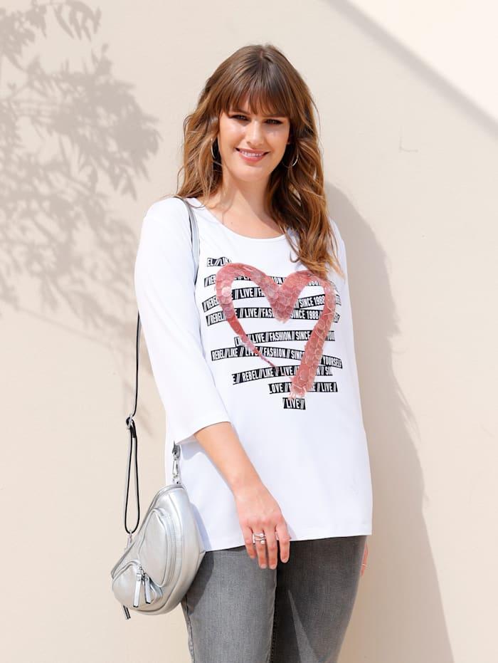 MIAMODA Shirt mit Druck im Vorderteil, Weiß