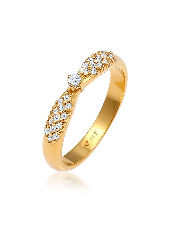 DIAMORE Ring Verlobung Glamour Diamant (0.16 Ct) 925 Silber, Gold