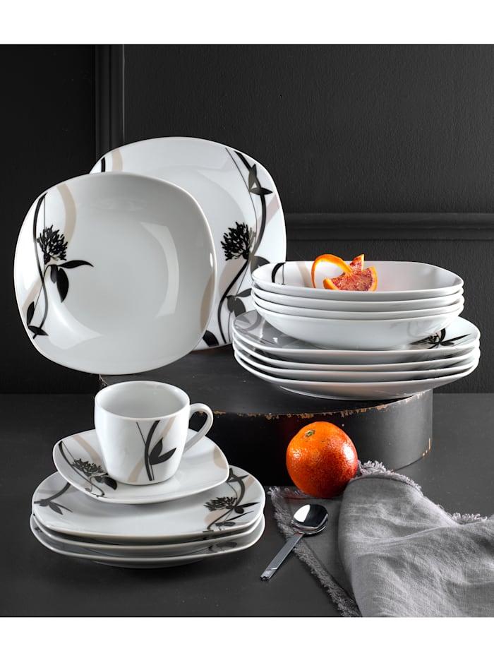 Van Well Middagsservise -Calypso- i 12 deler, hvit/svart/grå