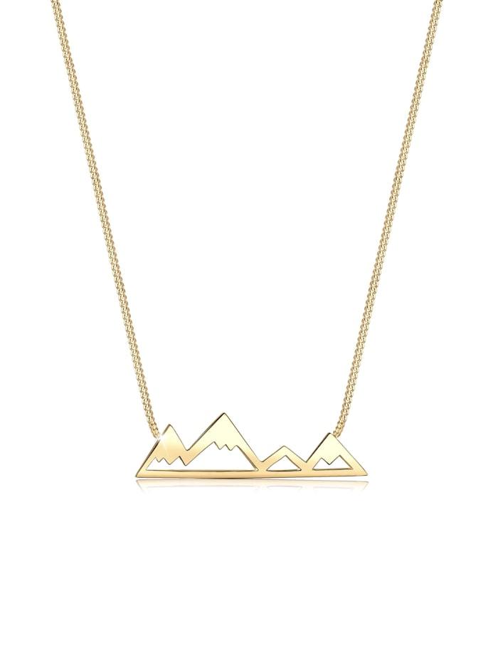 Elli Halskette Berge Mountain Anhänger Reise Cut-Out 925 Silber, Gold