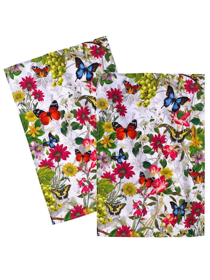 Kracht Theedoeken Bloemen per 2, Multicolor