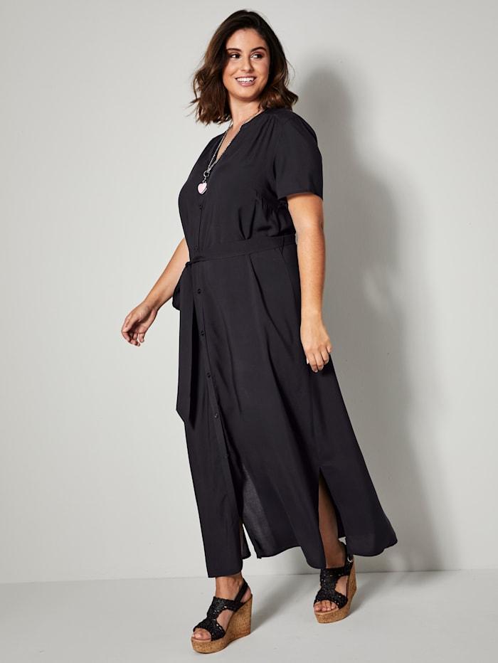 Sara Lindholm Robe longue avec ceinture à nouer amovible, Noir
