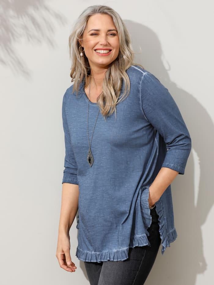 MIAMODA Shirt mit Rüschen am Saum, Jeansblau