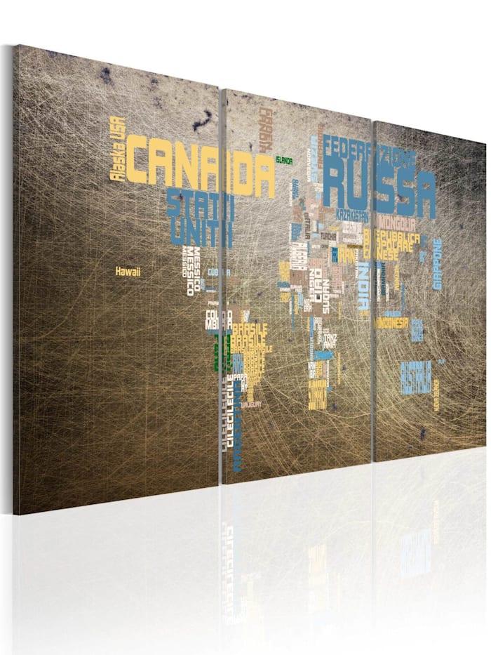 artgeist Wandbild Weltkarte, blue,grey,yellow