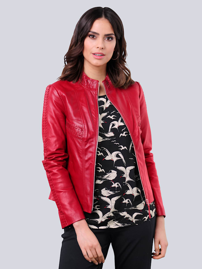 Alba Moda Lederjacke aus hochwertigem weichem Lammnappaleder, Rot