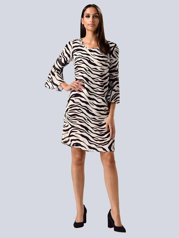 Alba Moda Kleid im modischen Animal-Dessin allover, Off-white/Schwarz
