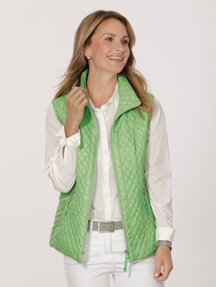MONA Quilted gilet with a printed lining, Green