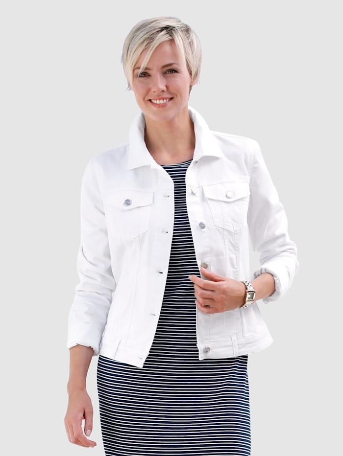 Dress In Jeansjacke mit Brusttaschen, Weiß