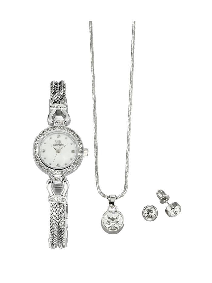 Meister Anker 4-delige horloge- en sieradenset, Zilverkleur