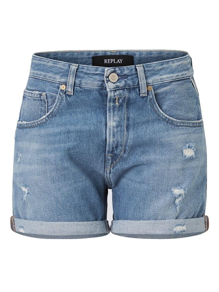 REPLAY Shorts, Jeansblau