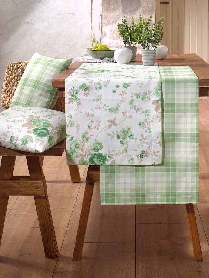 Hossner Linge de table 'Megan', Écru/vert