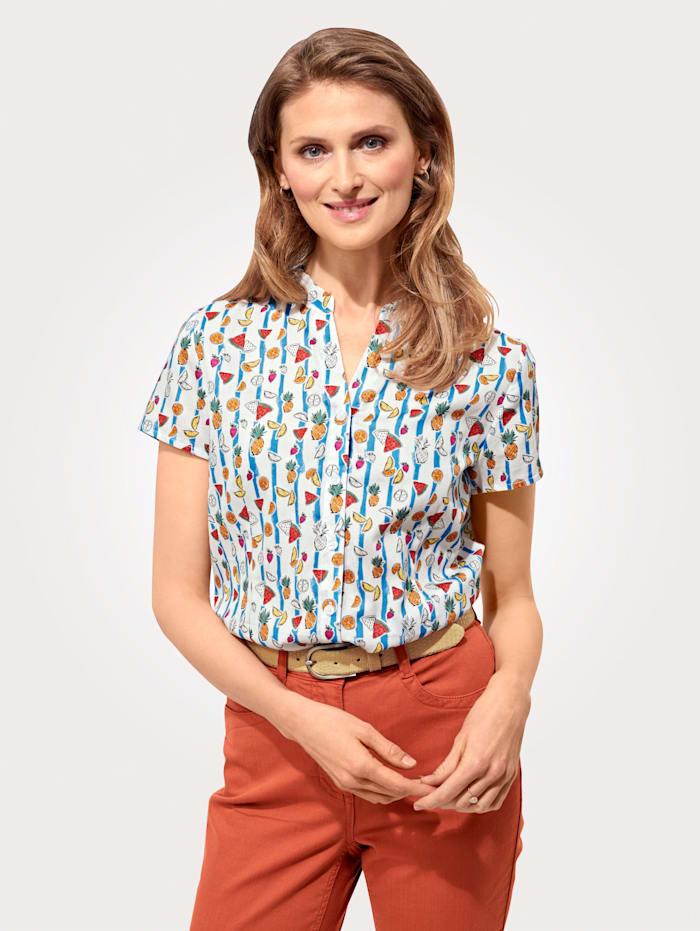 MONA Bluse aus reiner Baumwolle, Weiß/Hellblau/Multicolor