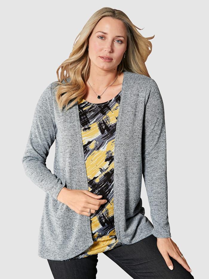 MIAMODA 2-in-1-Shirt mit grafischem Druck, Grau/Gelb