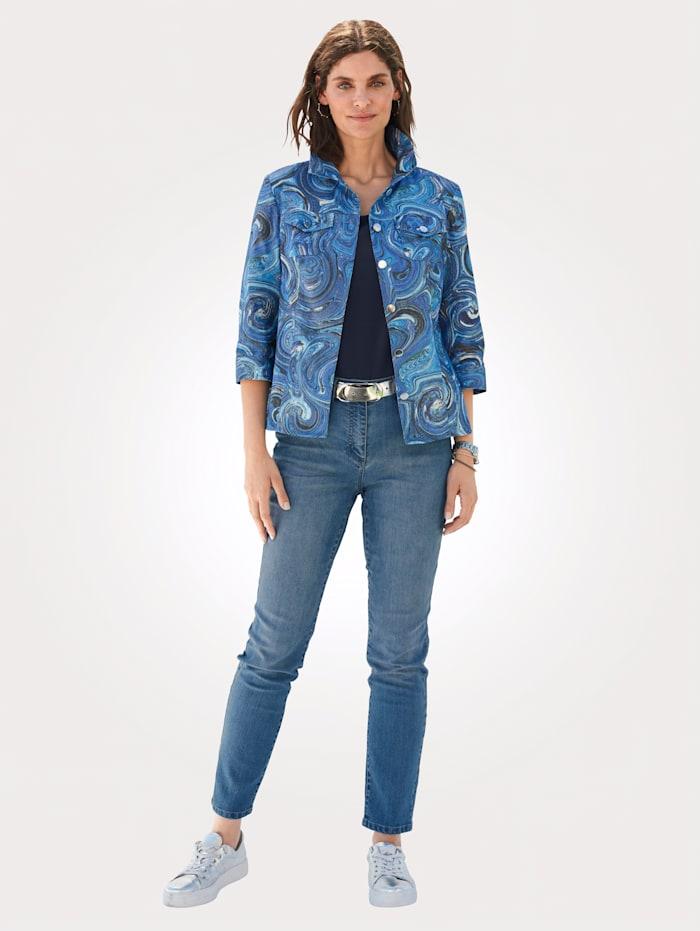 Jeans met ton-sur-ton borduursel op de zakken