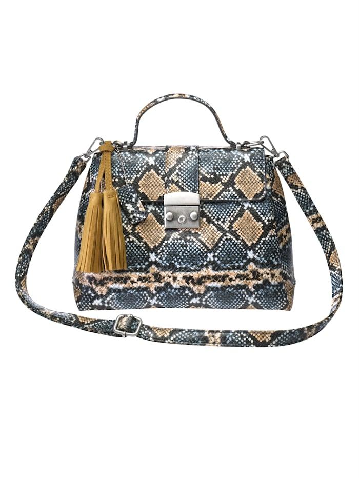 Turned Love Handbag in an on-trend snake print, Beige/Blue/Snake