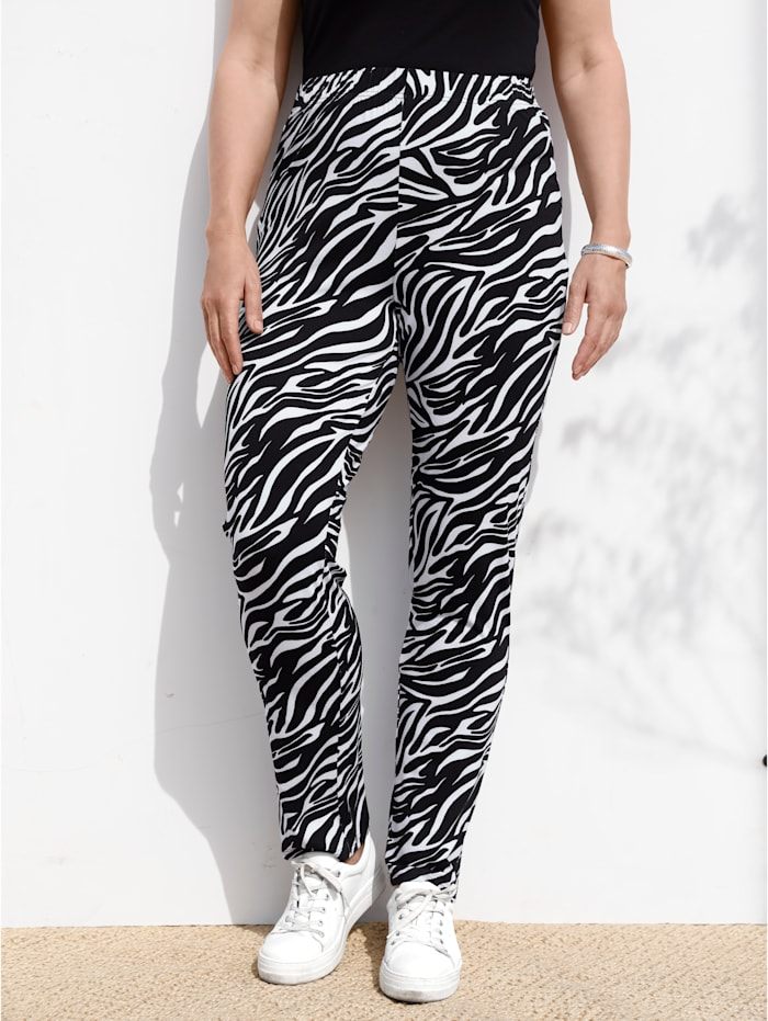 MIAMODA Hose mit Animalprint, Schwarz/Weiß