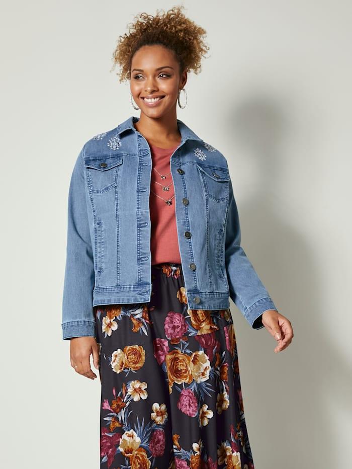 Jeansjacke mit Strasssteinen