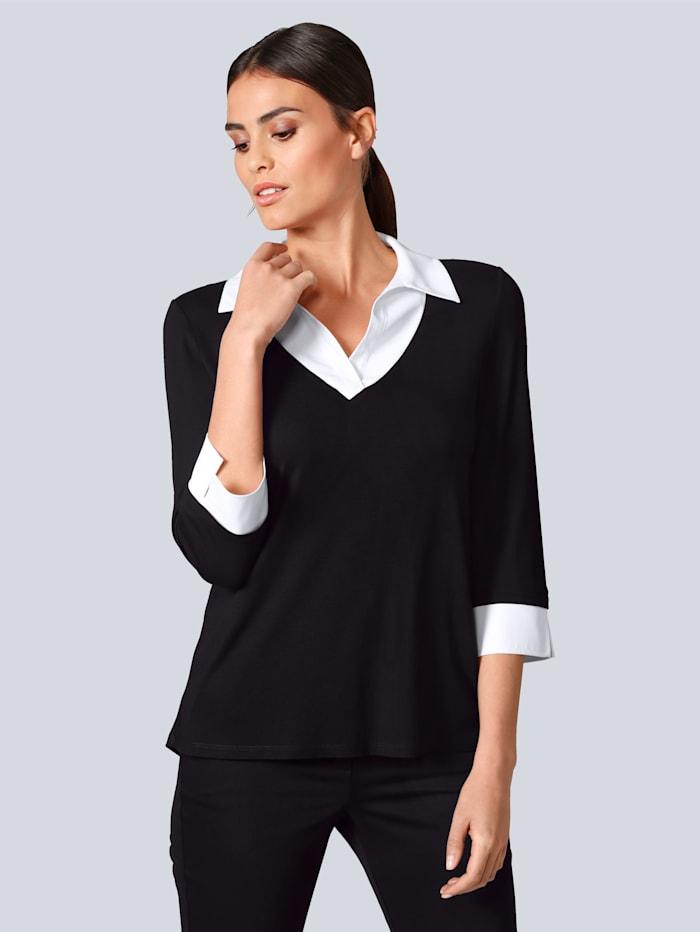 Shirt mit kontrastfarbigem Bluseneinsatz