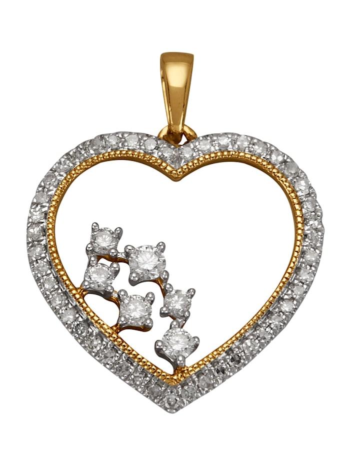 Herz-Anhänger mit Diamant, Gelbgoldfarben