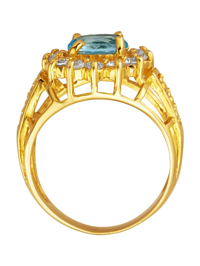 Bague avec 1 pierre en verre bleue