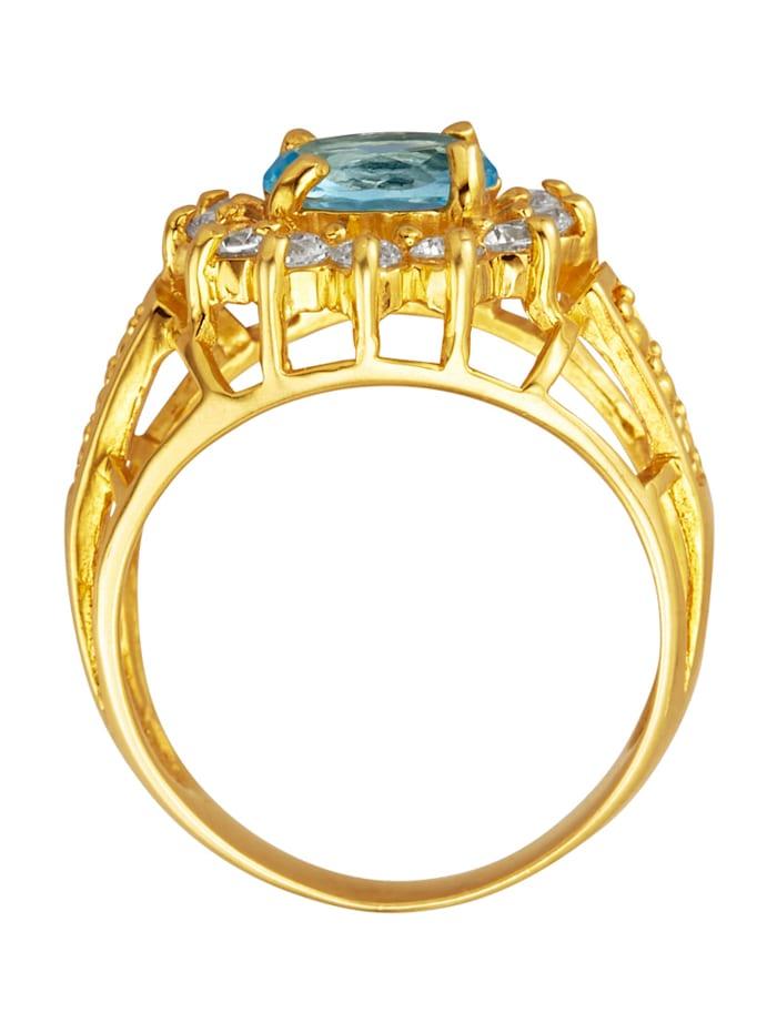 Dámsky prsteň s 1 modrým skleneným kameňom