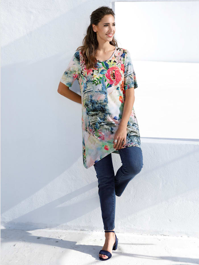 MIAMODA T-shirt à pans à imprimé fleuri, Multicolore