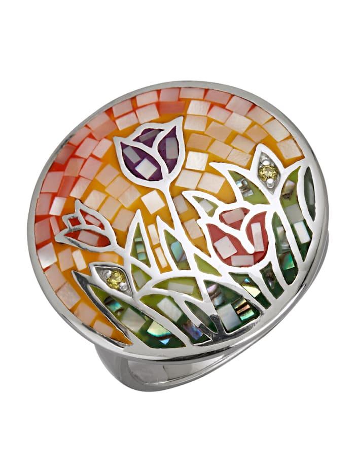 Diemer Highlights Damenring -Tulpenmotiv, Multicolor