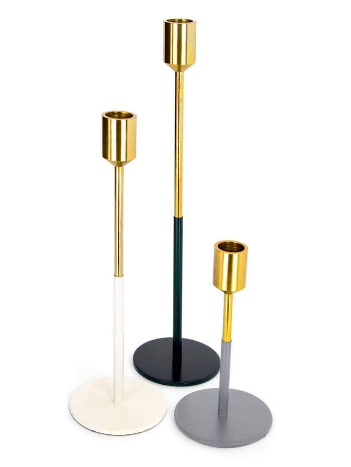 Kayoom Kerzenhalter 3er Set, Gold / Weiß / Schw
