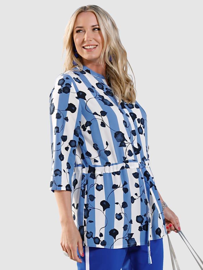 MIAMODA Bluse mit streckendem Muster, Blau/Weiß