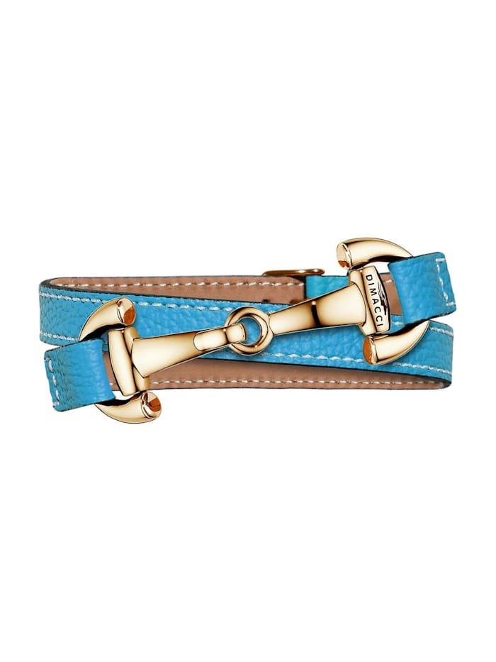 Dimacci Dimacci Damen-Armband Edelstahl/Leder, blau