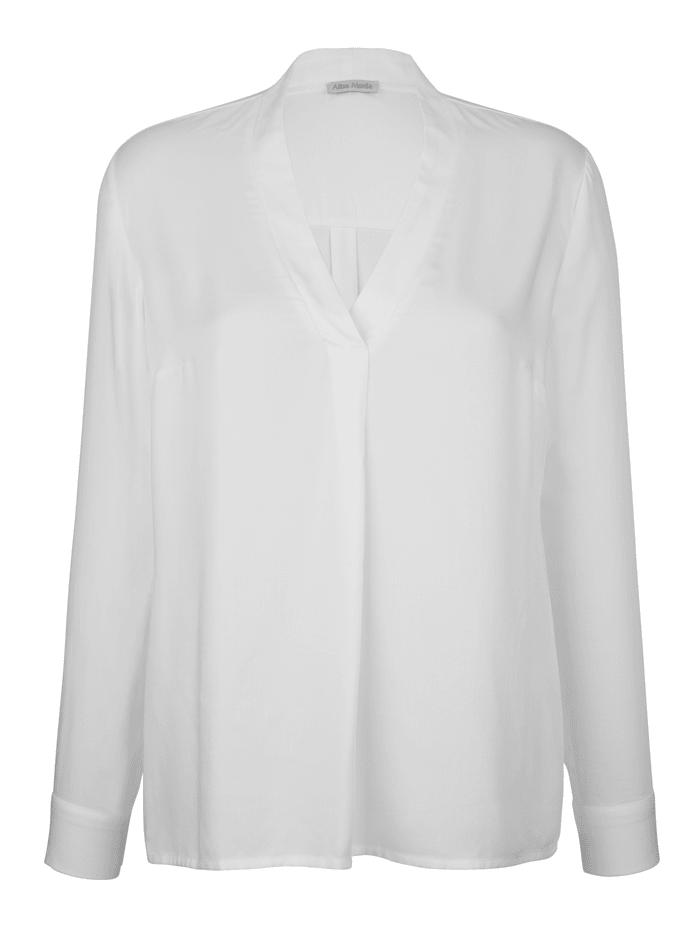 Alba Moda Bluse mit Faltendetail, Off-white