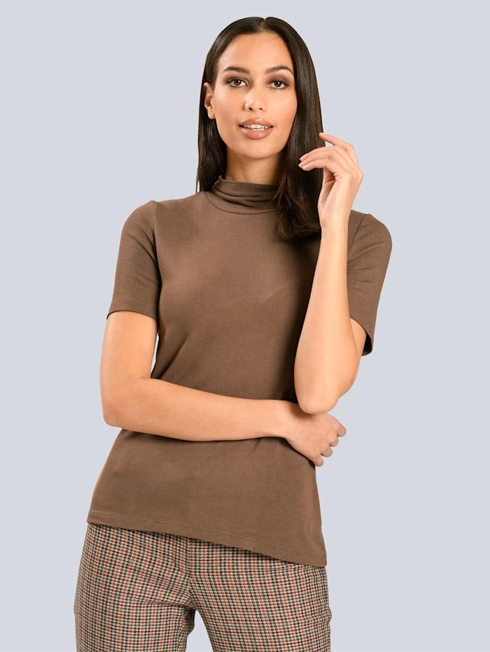Alba Moda Shirt mit kleinem, gerafftem Stehkragen, Camel