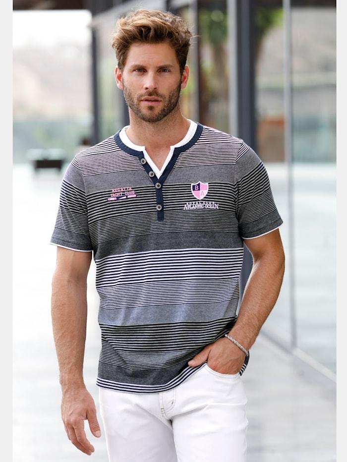 BABISTA T-shirt met borduursel & patch, Marine/Wit