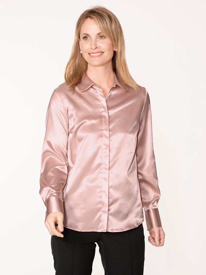 MONA Bluse aus elastischem Satin, Rosé