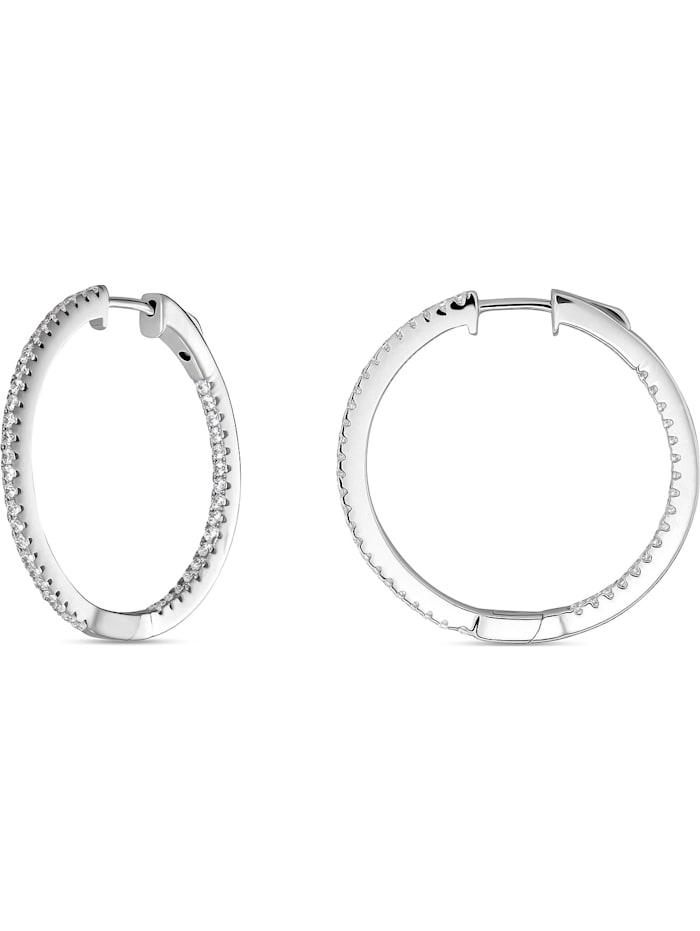 FAVS Damen-Creolen 925er Silber rhodiniert 86 Zirkonia