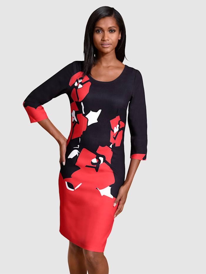 Alba Moda Kleid in floralem Dessin, Schwarz/Rot