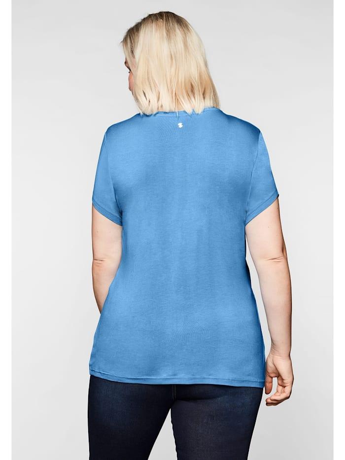 T-Shirt mit Wickeleffekt und seitlicher Kräuselung